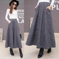 New Women Loose Winter High Waist Wool Blend Fashion Chic Skirt Maxi Long Dress