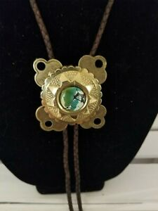Western Bolo Ties Turquoise Brass