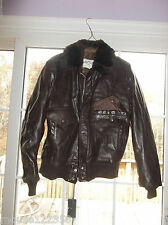 Jacket  Air Force FLIGHT BOMBER Fur Collar Brown LEATHER  Coat size 42