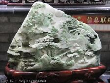 """21"""" China Dushan Jade Old Man Red-crowned Crane Mountain Water Landscape Statue"""