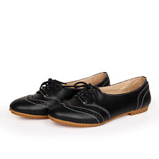 Womens Flat Shoes Ladies Brogues Lace Up Casual Working Shoes Oxfords Shoes