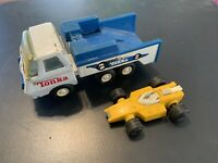 Vintage Tonka Mini Indy Race Car Transporter Hauler With Car Blue Truck