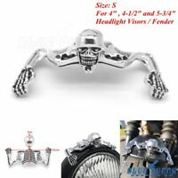 4 in 4-1/2 in 5-3/4 in Headlight Visor Ornament Skull Skeleton For Harley Custom