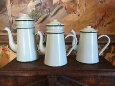 Antique French Green S/3 Enamelware Graniteware Biggin Cafeterie Coffee Pot