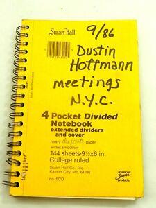 Original Notebook of Dustin Hoffman Meetings N.Y.C. Sept.1986 reg. Movie Script