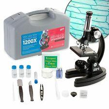 Amscope 48pc Starter 120x 1200x Compound Microscope Science Kit For Kids Black