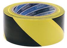 Genuino Draper 33m x 50mm negro y amarillo ADHESIVO Hazard Cinta Rollo 63382