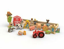 BeginAgain Farm A to Z puzzle – Toy Farm and Wooden Puzzle + Playset for Kids