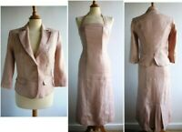 NEXT Pink 100% Ramie Dress Jacket Suit Wedding Summer Workwear Size 8