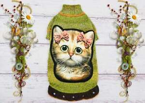 Sphynx cat clothes Knitted cat sweater hand embroidery