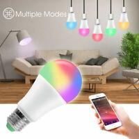 Bluetooth WiFi Smart LED Light Bulb RGB W/WW Dimmable For Alexa Google E27 15W