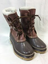 KAMIK WATERPROOF PAC FELT LINERS Womens 7 SNOW Boots BROWN LEATHER RUBBER CANADA