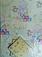 Baby 2 Sheets of Gift Wrap Wrapping Paper & 2 Tags New Boy Girl Congratulations