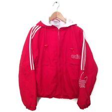 Adidas VTG Jacket M Red Spell Out Full Zip Nylon Hooded Windbreaker Logo Coat