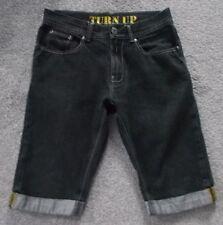 Denim Co para hombre Negro Informal Subir Jeans Pantalones Cortos 5 Bolsillos Talla W30''