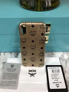 NIB MCM Champagne Berlin Gold iPhone XS / X Diamond Phone Case