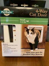 Pet Safe 4 Way Cat Door For Small 1-15lb Convenient Four Way Security Lock Nib