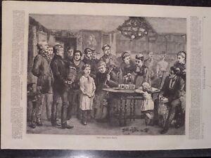 Victorian Era Christmas Carolers Singing Harper's Weekly 1872 Original Print