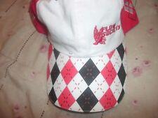 ☀Flow Society Lacrosse Red/White Argyle Mens Golf Sports Cap Hat (B34)