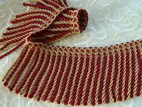 """TOP QUALITY!! 4 3/8"""" Silky Rayon Red/Gold Bullion Fringe Trim ~ BTY ~ Upholstery"""
