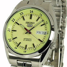 Seiko Green 5 Automatic Mens Analog Casual Silver Watch SNK573J1
