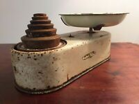 Vintage c1950's Harper Cream Metal Balance Scales with Enamel Tray and 6 Weights