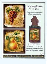 Art Adult Painting Book Les Fruits de Saison Ann Grenier Fruits French instruc.