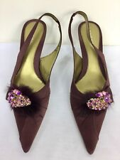 NINE WEST BURGUNDY CLARET SATIN JEWELLED SLINGBACKS HIGH HEEL SHOES 7 WORN ONCE