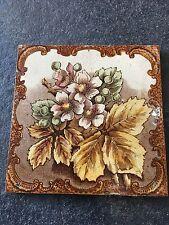 Antique Vintage Printed Tile Floral Rose Transfer Design Staffordshire Pottery