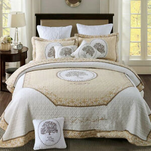 Oriental Tree Quilted Patchwork Coverlet Queen King Size Bedspread Set Throw Rug