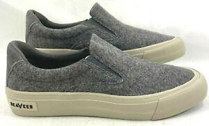 SeaVees Men's Hawthorn Slip On Sur Sneakers Grey Heather Wool Flannel