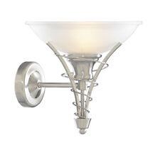 Searchlight 5227SS Linea Satin Silver Wall Light Twist Centre & Dome Opal Glass