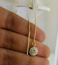 14K Yellow Gold Threader Earring Long Moon Chain .20 CT Diamond Ball Dangle