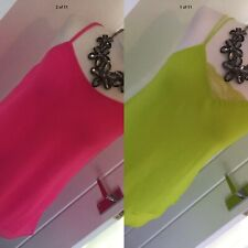 2 Neon Cami Tops New Look & Quiz Strappy Acid Green Pink Size 10