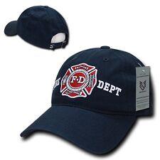Navy Blue Fire Dept Department Fireman Rescue Badge Polo Style Baseball Cap Hat
