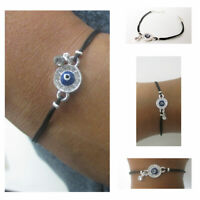 1  Evil Eye Bracelet Hamsa Kabbalah Zirconia Black String Lucky Charm Protection