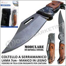 COLTELLO COLTELLINO MANICO LEGNO CACCIA SISTEMA MODULARE PIEGHEVOLE LAMA 7cm