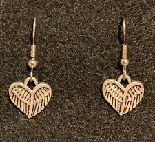 ANGEL WINGS HEART Earrings Stainless Hook Precious small