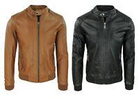 Giubbotto giacca uomo ecopelle casual giubbino moto slim fit nero cammello