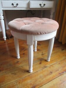 Wood Dressing Table Stool Chair Footstool vanity buttoned pink & white