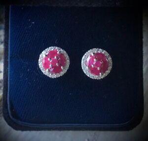 NEW Natural Burmese Ruby & White Zircon Halo Stud Earrings, High Polish Platinum