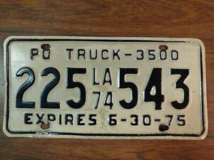1974, 1975 Louisiana Truck License Plate Tag