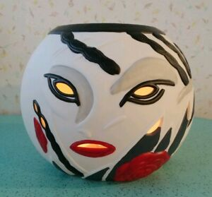 "Candle Holder Vintage 80s 90s Face White Black Red Weird 6"" high"