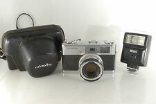 """""""As Is"""" Minolta 7S 35mm Rangefinder Film Camera with Lens,Flash,Case from Japan"""