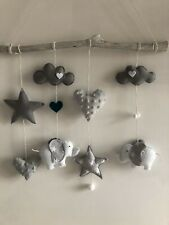 Handmade felt Cloud and Stars baby cot mobile,nursery decor grey white