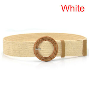 Summer Women Elastic Belt Round Buckle Vintage Boho Straw Woven Belt Dress Be TM