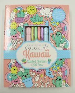 Kaleidoscope Colouring Book Kawaii with Scented Markers & Gel Pens Craft Book