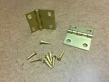 """1 Pair Brass Piano Bench Hinges w Screws, Asymmetrical 1 9/16"""" wide, 1.75"""" long"""