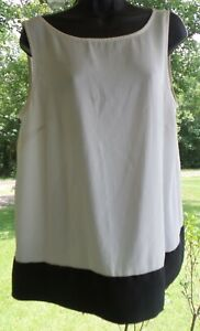Ann TAYLOR The Loft BLACK & WHITE Dressy TANK TOP WITH Tie Women's SIZE LARGE