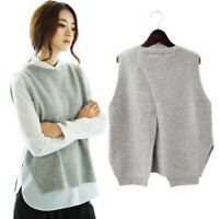 Womens Winter Pullover Sweater Vest Cashmere Blend Pullover Slit Waistcoat new